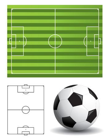 uefa: Fu�ballplatz und ball Illustration