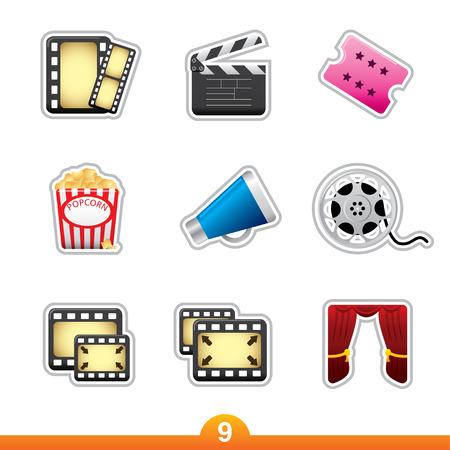 Icon sticker series 9 - movie and film Vector