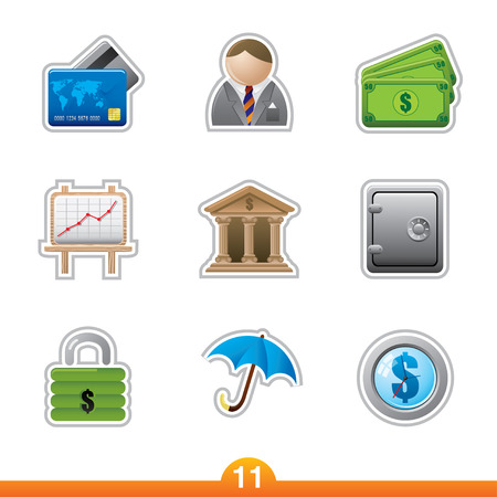 Icon sticker series 11 - finance Vector