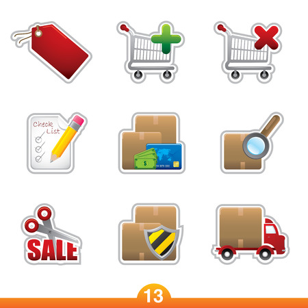 Icon sticker series 13 - internet shopping Vector