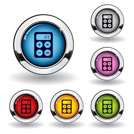 fiscal: Metallic finance button Illustration
