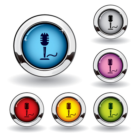 Metallic microphone button Stock Vector - 6607954