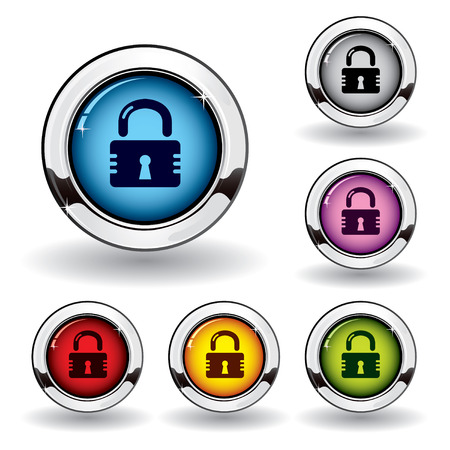 chrome: Metallicsecurity button Illustration