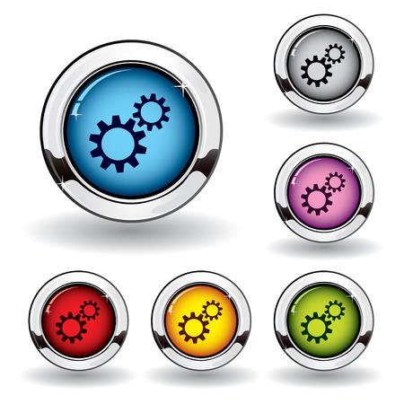 Metallic settings button Vector