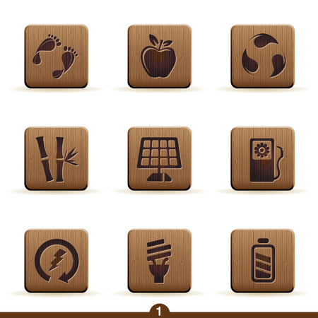 Detailed wooden ecology icon series Vector