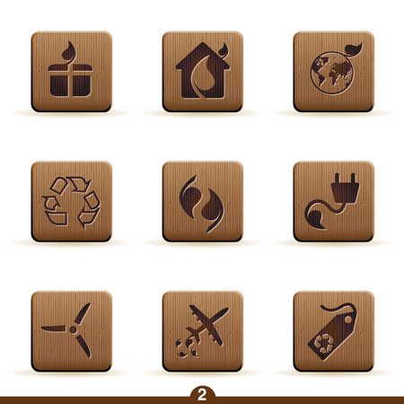 wood carving: Detailed wooden ecology icon series