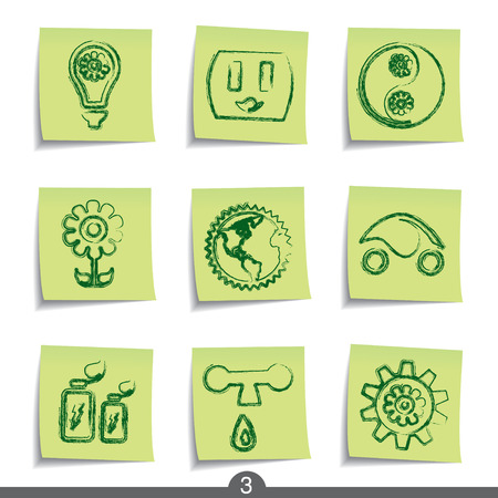 Ecology - post it icon series 3 Vector