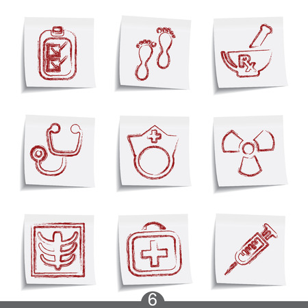 Medical - post it icon series 6 Stock Vector - 6740891