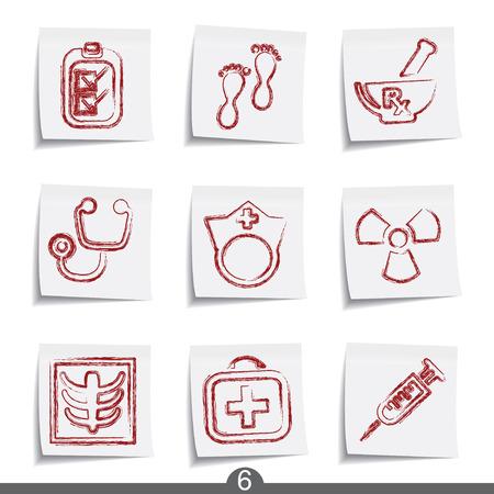 nurse injection: Medico - post it icona serie 6