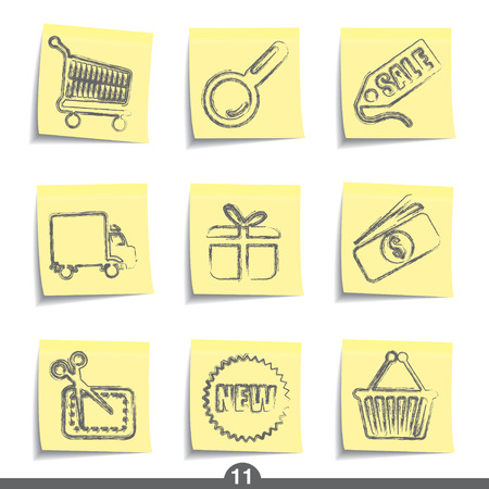 post it note: Internet shopping - postare icona serie 11 Vettoriali