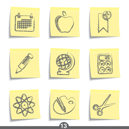 it is isolated: Education - post it icon series 13