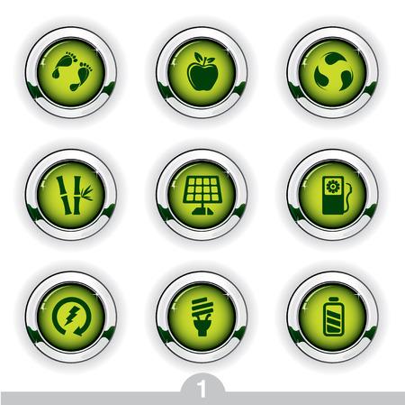 Ecology button series 1 Vector