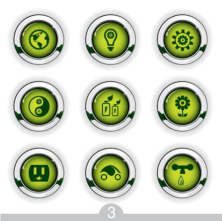 Ecology button series 3 Vector