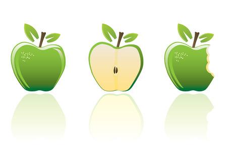 Green apple set Vector