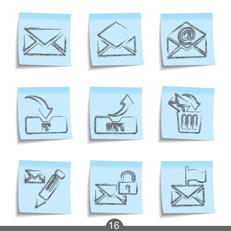 sent: Mail post it icons series no.16 Illustration