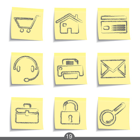 Web post it icons series no.19 Vector