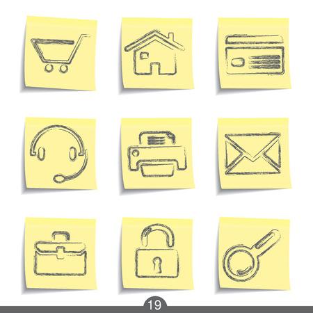 post card: Web post it icons series no.19 Illustration