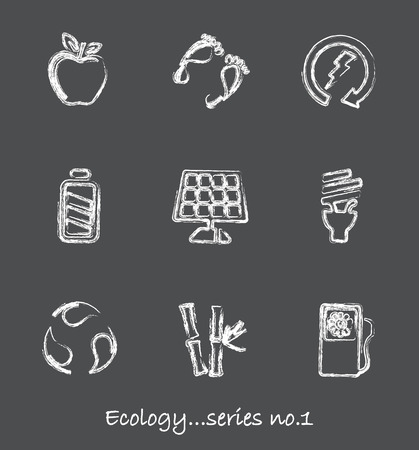 Ecology chalkboard icons...series no.1 Vector