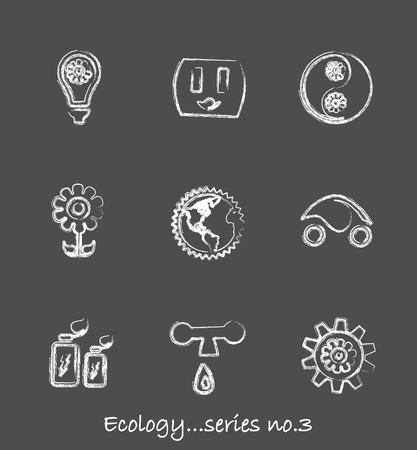 Ecology chalkboard icons...series no.3 Vector