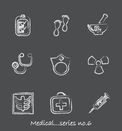chiropody: Medical chalkboard icons...series no.6