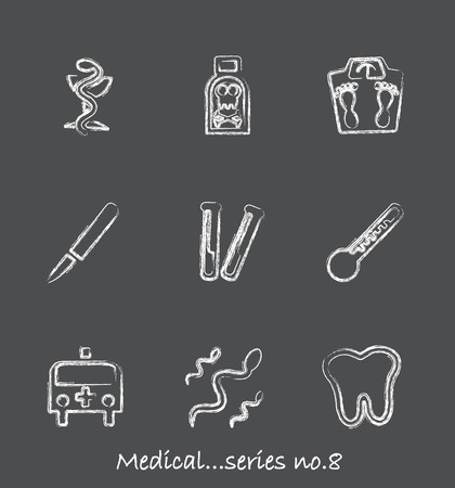 neurologist: Medical chalkboard icons...series no.8 Illustration