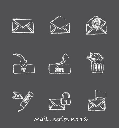 email security: Mail chalkboard icons...series no.16
