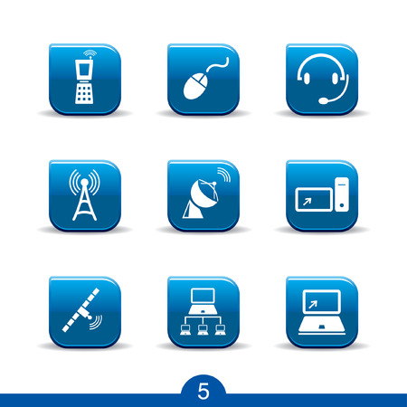 Set of nine communications web icons from series Vector