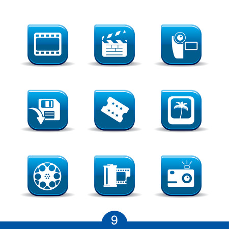 Set of nine movie and film web icons from series Vector