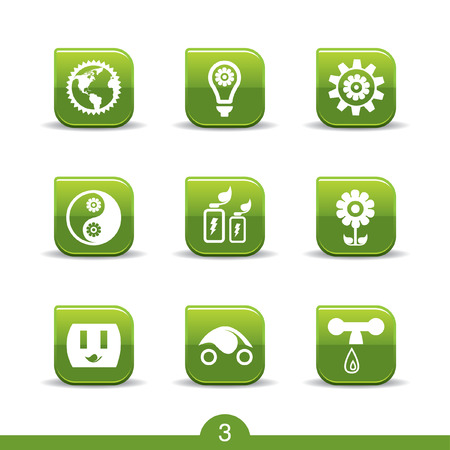 energy buttons: Set of nine ecology web icons from series