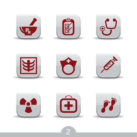 mortero: Conjunto de iconos de nueve web m�dica de serie