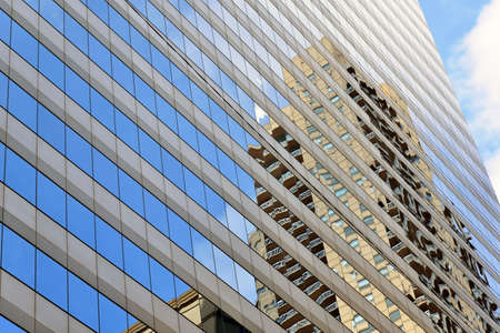 building wall: Glass curtain wall building and projection Stock Photo