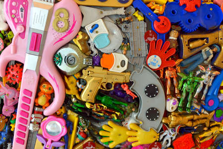 plastic toys: A pile of old plastic toys