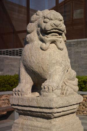 ancient lion: Ancient lion sculpture Stock Photo