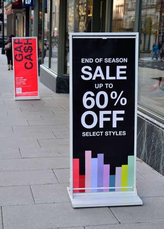 sidewalk sale: Street advertising