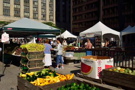 an agricultural district: United States outdoor farmers market