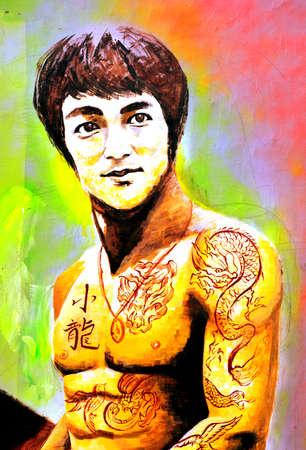 Street graffiti Bruce Lee Avatar Editorial