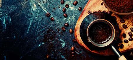 Food coffee background top view Standard-Bild