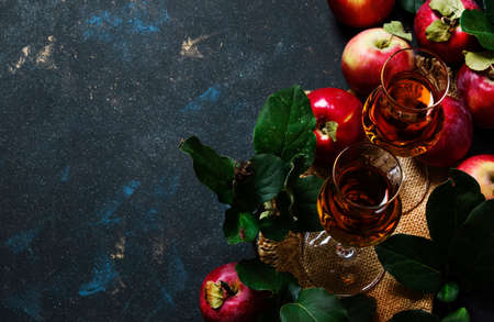 French apple brandy or calvados, dark drink autumn background, top view