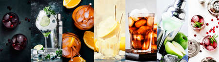 Alcoholic cocktails with strong drinks, soda, berries and fruit in assortment. Close-up. Photo collage