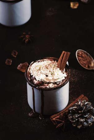 Vintage mug of hot chocolate with cinnamon sticks and marshmallows on dark background 스톡 콘텐츠