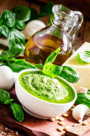 Pesto in bowl, selective focus