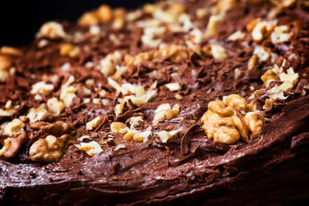 Homemade chocolate cake with nuts, rustic background, selective focus