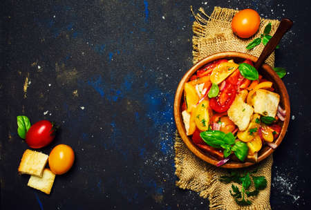 Salad With Tomatoes, Basil And Stale Bread, Rustic Style, Top view