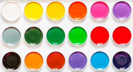 Palette of paints for drawing, top view