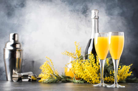 Low alcohol cocktail mimosa with orange juice and cold dry champagne or sparkling wine in glasses, blue background with flowers, place for text, selective focus