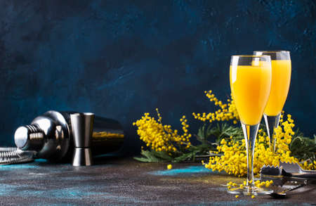 Mimosa alcohol cocktail with orange juice and dry champagne or sparkling wine in glasses, blue background, copy space Archivio Fotografico