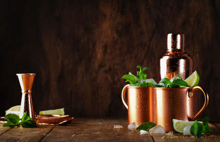 Moscow mule or mint julep cocktail in copper mug with lime, ginger beer, vodka and mint. Wooden table, copper bar tools, copy space Stock Photo
