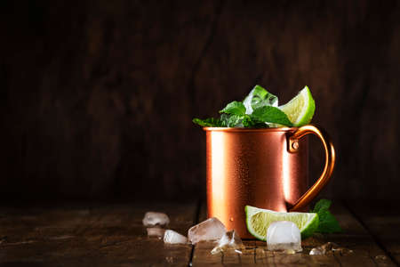 Moscow mule or mint julep cocktail in copper mug with lime, ginger beer, vodka and mint. Wooden table, copper bar tools, copy space Reklamní fotografie