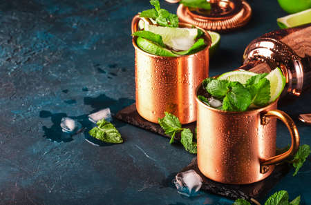 Moscow mule cocktail in copper mug with lime, ginger beer, vodka and mint. Blue table, copper bar tools, copy space Reklamní fotografie