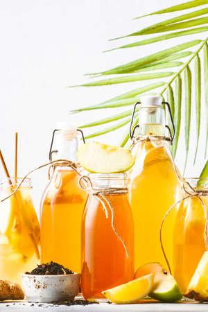 Selection Of Fermented Kombucha Drinks. Homemade probiotic superfood tea, keto diet drink, tepache, cider, kvass, ginger ale. Healthy flavored drink. Copy space Reklamní fotografie